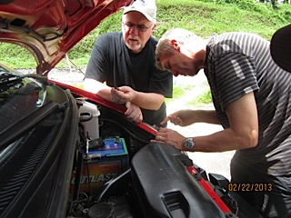 Dr Mark and John with vehicle